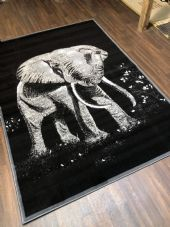 NEW RUG Approx 6x4FT 120x170cm STUNNING Black/Grey Top Quality Elephant